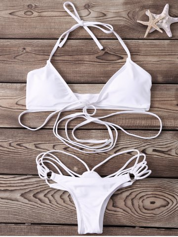 Shop Sexy Halter   Solid Color Lace-Up Bikini Set For Women WHITE M