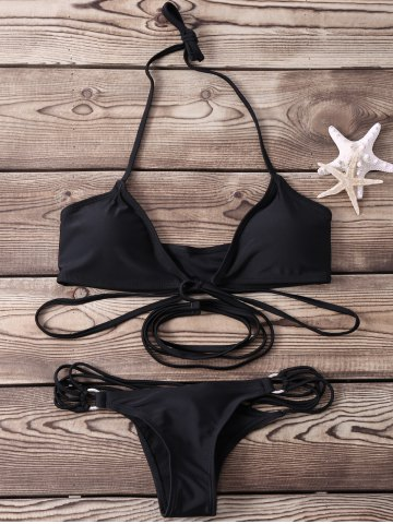 Fashion Sexy Halter   Solid Color Lace-Up Bikini Set For Women BLACK S