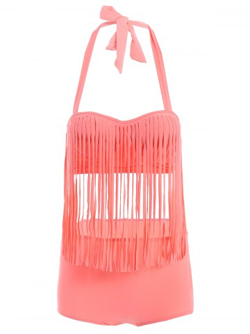 Chic Halter High Waisted Fringe Tankini WATERMELON RED XL