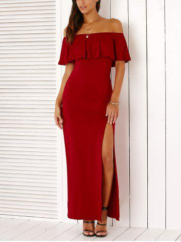 New Stylish Off The Shoulder High Slit Solid Color Maxi Dress