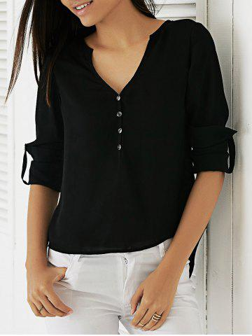 Chic Adjustable Sleeve Buttoned High Low Hem Blouse