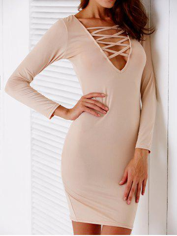 Trendy Plunging Neck Hollow Out Bodycon Dress For Women