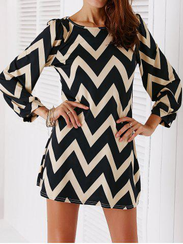Hot Chic Color Block Zig Zag Printed Dress For Women BLACK L