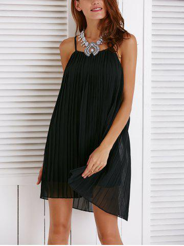 Buy Chic Spaghetti Strap Solid Color Pleated Dress For Women