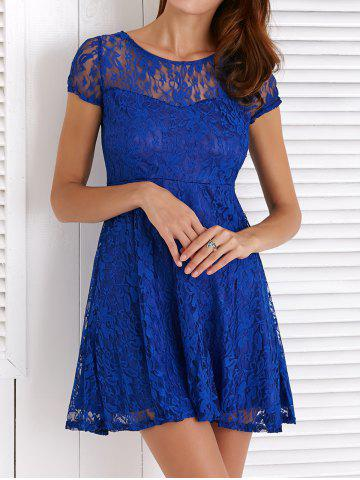 Fashion Chic Round Neck Short Sleeve Solid Color Lace Dress