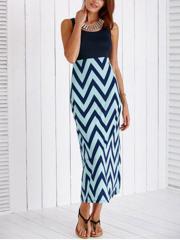 Store Stylish Scoop Neck Zig Zag Maxi Dress For Women