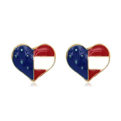 Trendy American Flag Heart Shape Stud Earrings