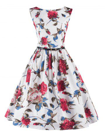Stunning Sleeveless Floral Belted Cocktail Dress - White - S