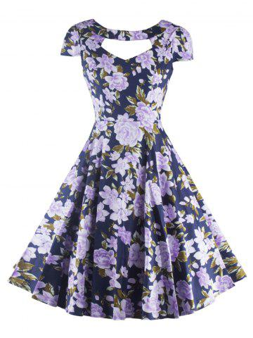 Latest Retro Hollow Out Floral Dress For Women