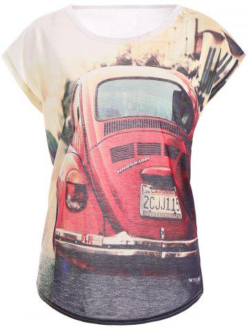 Trendy Casual Style Short Sleeve Car Pattern Round Neck Women's T-Shirt