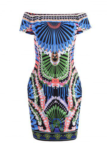 Fancy African Tribal Style Off-The-Shoulder Colorful Printed Bodycon Dress For Women