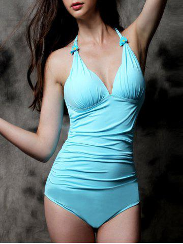 Plunging Neck Solid Color One Piece Swimwear - Light Blue - M