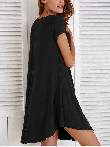 New V-Neck Loose Casual Dress Outfit With Sleeves - 2XL BLACK Mobile