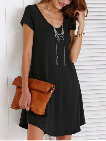 Sale V-Neck Loose Casual Dress Outfit With Sleeves - 2XL BLACK Mobile