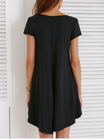 Shop V-Neck Loose Casual Dress Outfit With Sleeves - XL BLACK Mobile