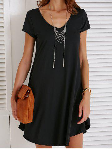 Sale V-Neck Loose Casual Dress Outfit With Sleeves - XL BLACK Mobile
