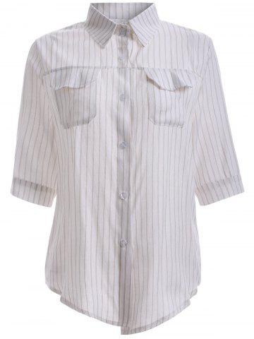 Outfits OL Thin-Stripe Pocket Design Shirt