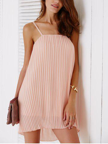 New Spaghetti Strap Solid Color Pleated Dress For Women