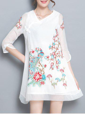 Trendy Skew Neck Embroidery Plate Button Dress WHITE L