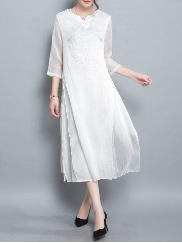 Shops Slit Tea Length Dress