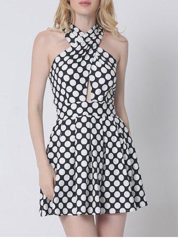 Best Cross Back Polka Dot Skater Cocktail Dress BLACK S