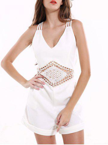 Tribal Pattern Hollow Out Backless Romper - White - Xl