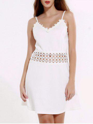 Fancy Mini Backless Laciness Cocktail Slip Dress WHITE 3XL