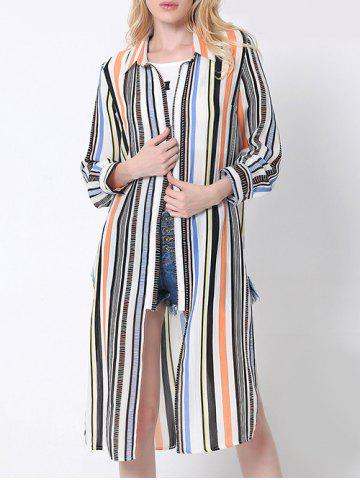 Shops Flowing Colorful Striped High Slit Shirt