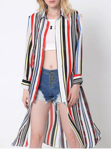 New Flowing Colorful Striped High Slit Shirt RED L