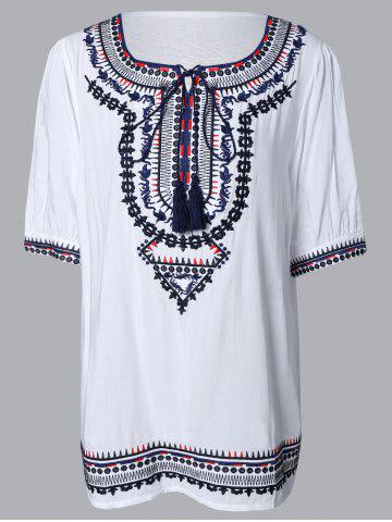 Unique Ethnic Embroidered Tassel Dress For Women