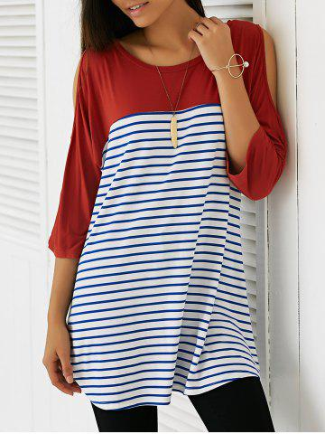 Sale Casual Cold Shoulder Striped Long Blouse BRICK RED M