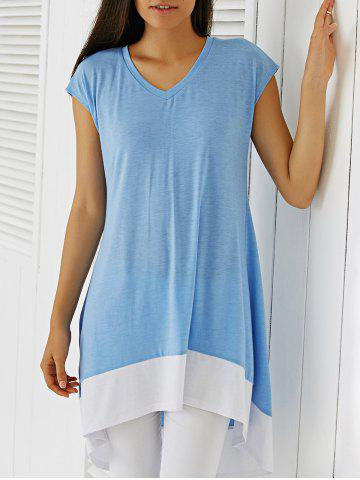 Outfits Brief Hit Color Back Slit Comfy Blouse ICE BLUE S