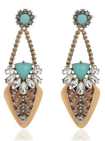 Store Bohemian Style Rhinestone Geometric Drop Earrings YELLOW