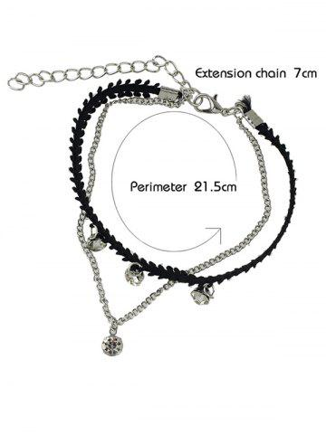 Affordable Rhinestone Layered Chain Anklet - SILVER  Mobile