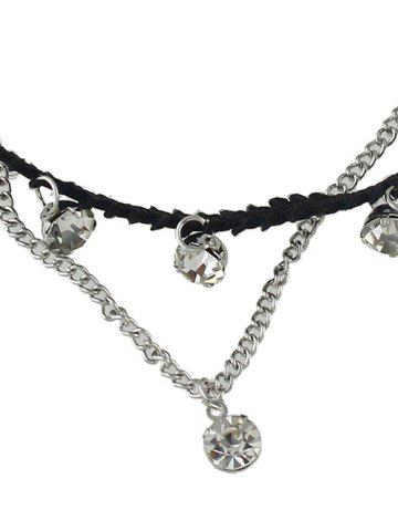 Shops Rhinestone Layered Chain Anklet - SILVER  Mobile