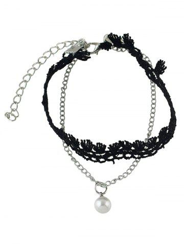 Affordable Handmade Faux Pearl Tassel Layered Anklet - SILVER  Mobile