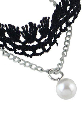 Fancy Handmade Faux Pearl Tassel Layered Anklet - SILVER  Mobile