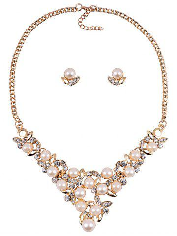 Discount Rhinestone Faux Pearl Wedding Party Jewelry Set