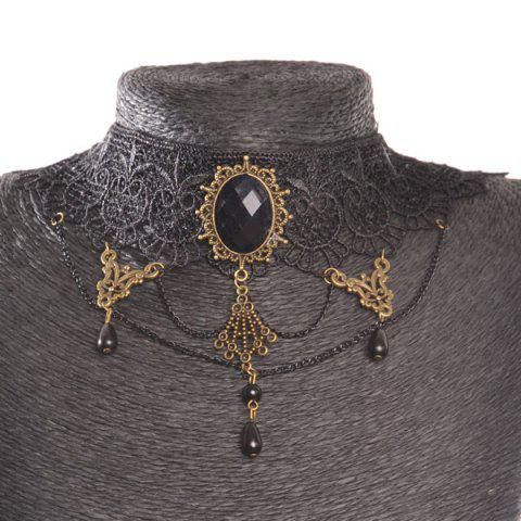 Unique Oval Water Drop Openwork Lace Statement Choker