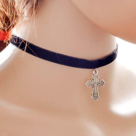 Buy Crucifix Pendant Velvet Choker Necklace BLACK
