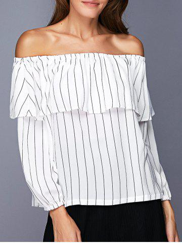 New Trendy Off The Shoulder Flounce Striped Women's Blouse