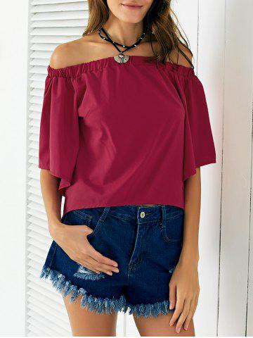 Latest Chic Off The Shoulder Asymmetrical Women's Blouse WINE RED M