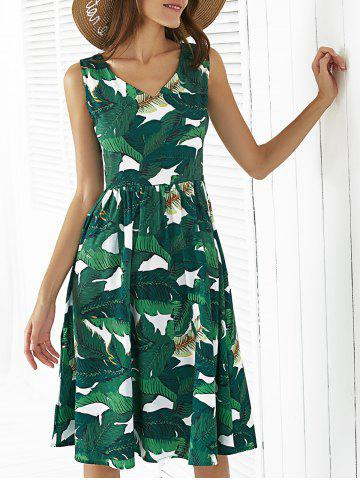 Shop Retro Style V-Neck Sleeveless Leaf Print Women's Dress