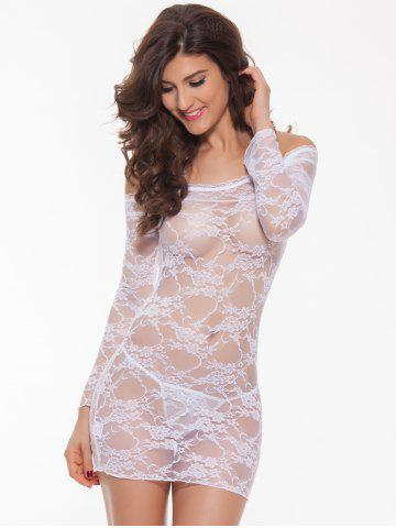 Fancy Alluring Women's Off-The-Shoulder Lace Babydoll - WHITE M Mobile