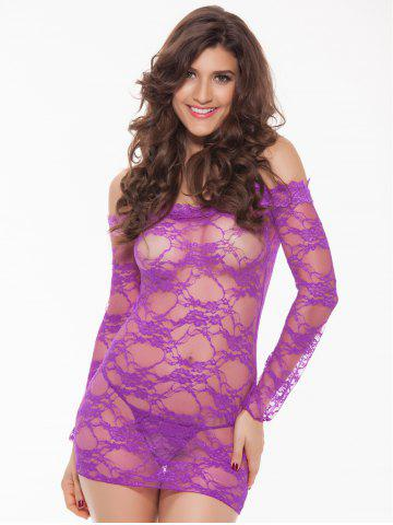 Trendy Alluring Women's Off-The-Shoulder Lace Babydoll - PURPLE XL Mobile