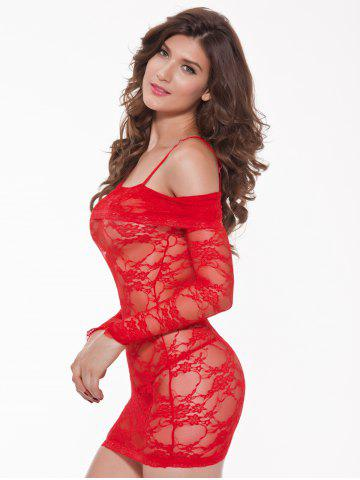 Outfit Alluring Women's Off-The-Shoulder Lace Babydoll - 3XL RED Mobile