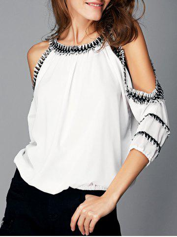 Shop Fashionable Cut Out Fringed Splicing Women's Blouse WHITE XL