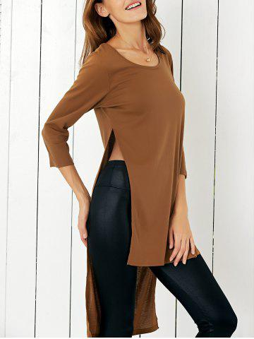 Affordable Chic Scoop Neck Asymmetrical Furcal Women's T-Shirt
