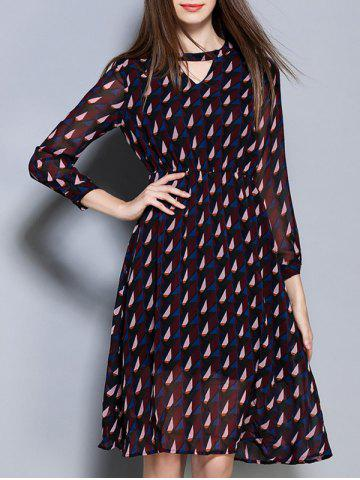Sale Stylish Hollow Out Geometric Printed Chiffon Dress