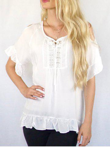 Store Scoop Neck Cut Out Solid Color Peasant Blouse